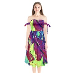 Abstract Painting ,blue,yellow,red,green Shoulder Tie Bardot Midi Dress