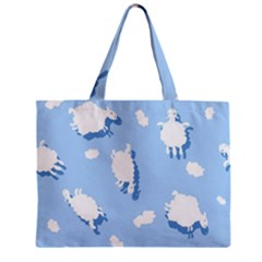 Vector Sheep Clouds Background Zipper Mini Tote Bag by Nexatart