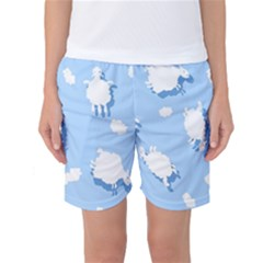 Vector Sheep Clouds Background Women s Basketball Shorts