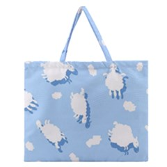 Vector Sheep Clouds Background Zipper Large Tote Bag by Nexatart