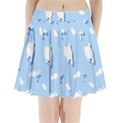 Vector Sheep Clouds Background Pleated Mini Skirt