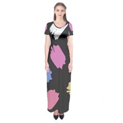 Many Colors Pattern Seamless Short Sleeve Maxi Dress