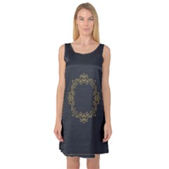 Monogram Vector Logo Round Sleeveless Satin Nightdress