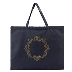 Monogram Vector Logo Round Zipper Large Tote Bag by Nexatart