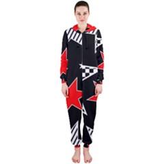 Stars Seamless Pattern Background Hooded Jumpsuit (ladies)