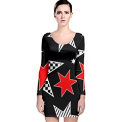 Stars Seamless Pattern Background Long Sleeve Velvet Bodycon Dress
