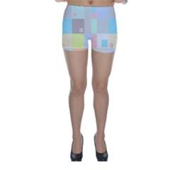 Pastel Diamonds Background Skinny Shorts