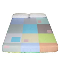 Pastel Diamonds Background Fitted Sheet (Queen Size)