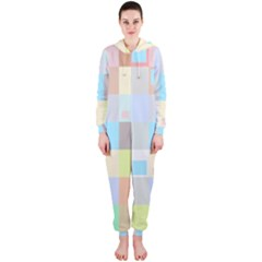 Pastel Diamonds Background Hooded Jumpsuit (ladies)