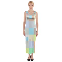 Pastel Diamonds Background Fitted Maxi Dress