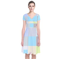 Pastel Diamonds Background Short Sleeve Front Wrap Dress