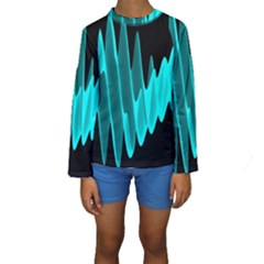 Wave Pattern Vector Design Kids  Long Sleeve Swimwear