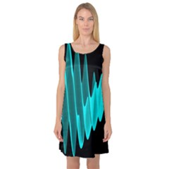 Wave Pattern Vector Design Sleeveless Satin Nightdress
