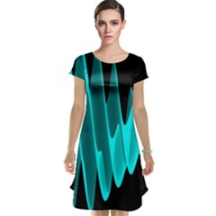 Wave Pattern Vector Design Cap Sleeve Nightdress