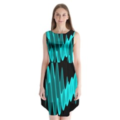 Wave Pattern Vector Design Sleeveless Chiffon Dress