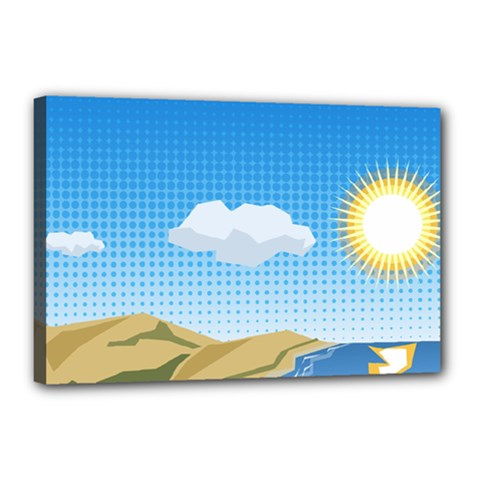 Grid Sky Course Texture Sun Canvas 18  X 12  by Nexatart