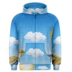 Grid Sky Course Texture Sun Men s Zipper Hoodie