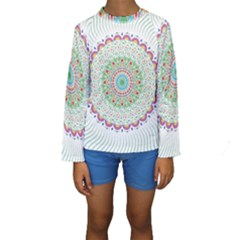 Flower Abstract Floral Kids  Long Sleeve Swimwear