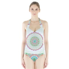 Flower Abstract Floral Halter Swimsuit