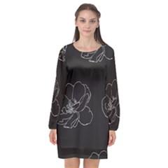 Rose Wild Seamless Pattern Flower Long Sleeve Chiffon Shift Dress