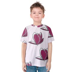 Magnolia Seamless Pattern Flower Kids  Cotton Tee
