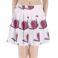 Magnolia Seamless Pattern Flower Pleated Mini Skirt