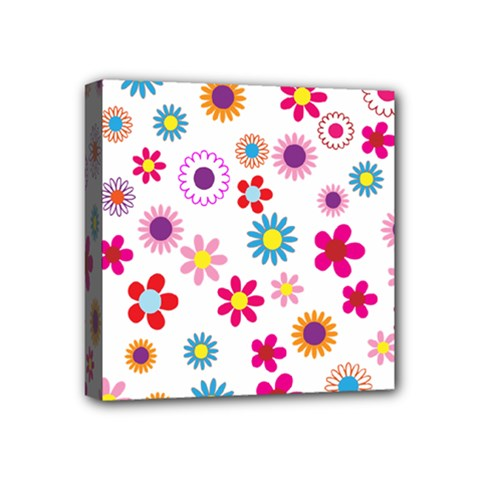 Floral Flowers Background Pattern Mini Canvas 4  X 4  by Nexatart