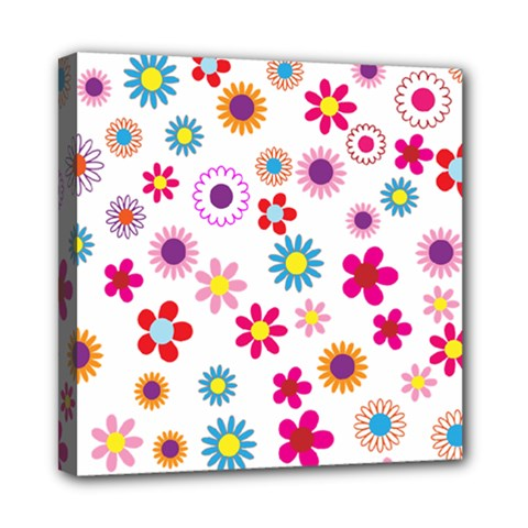 Floral Flowers Background Pattern Mini Canvas 8  X 8  by Nexatart