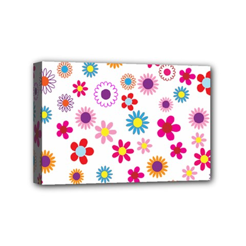 Floral Flowers Background Pattern Mini Canvas 6  X 4  by Nexatart