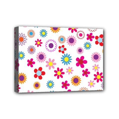 Floral Flowers Background Pattern Mini Canvas 7  X 5  by Nexatart
