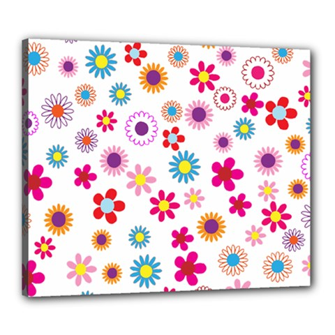 Floral Flowers Background Pattern Canvas 24  X 20