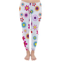Floral Flowers Background Pattern Classic Winter Leggings
