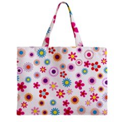 Floral Flowers Background Pattern Zipper Mini Tote Bag by Nexatart