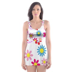 Floral Flowers Background Pattern Skater Dress Swimsuit