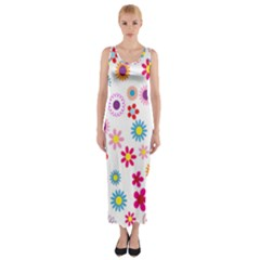 Floral Flowers Background Pattern Fitted Maxi Dress