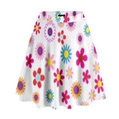 Floral Flowers Background Pattern High Waist Skirt by Nexatart