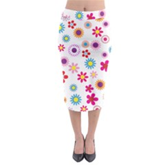 Floral Flowers Background Pattern Midi Pencil Skirt by Nexatart