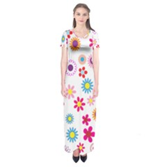Floral Flowers Background Pattern Short Sleeve Maxi Dress