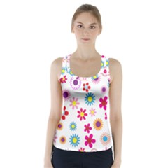 Floral Flowers Background Pattern Racer Back Sports Top