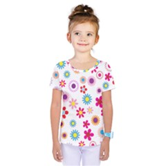 Floral Flowers Background Pattern Kids  One Piece Tee