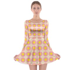 Pattern Flower Background Wallpaper Long Sleeve Skater Dress