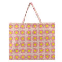 Pattern Flower Background Wallpaper Zipper Large Tote Bag