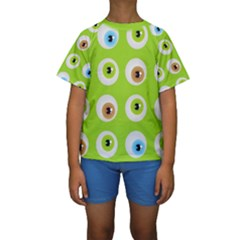 Eyes Background Structure Endless Kids  Short Sleeve Swimwear by Nexatart