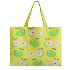 Apples Apple Pattern Vector Green Zipper Mini Tote Bag by Nexatart