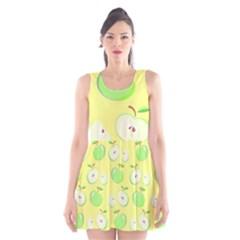 Apples Apple Pattern Vector Green Scoop Neck Skater Dress