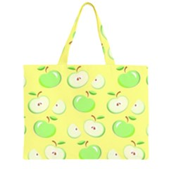 Apples Apple Pattern Vector Green Zipper Large Tote Bag by Nexatart