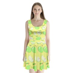 Apples Apple Pattern Vector Green Split Back Mini Dress