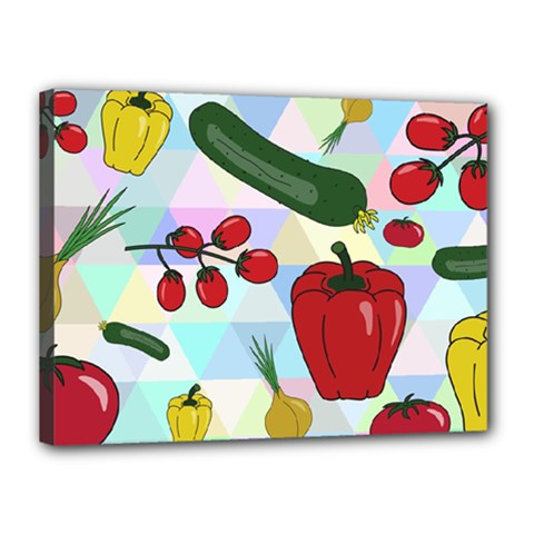 Vegetables Cucumber Tomato Canvas 16  X 12  by Nexatart