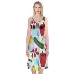 Vegetables Cucumber Tomato Midi Sleeveless Dress