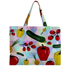 Vegetables Cucumber Tomato Medium Zipper Tote Bag by Nexatart